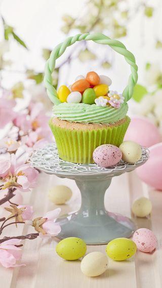 Обои на телефон яйца, празднование, цветы, цветные, пасхальные, кекс
