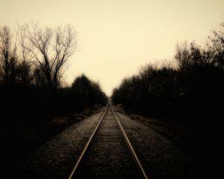 Обои на телефон тень, темные, сша, колея, зима, железная дорога, деревья, usa