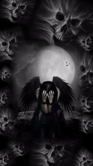 Обои на телефон боль, черные, череп, упавший, ангел, lost