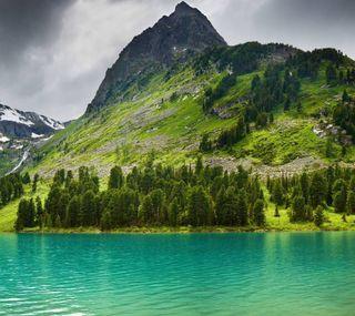 Обои на телефон холм, озеро, горы, вода, mountains-lake