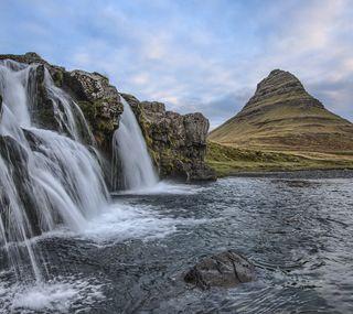 Обои на телефон холмы, камни, водопад, iceland