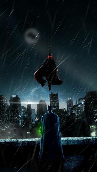 Обои на телефон бой, супермен, бэтмен