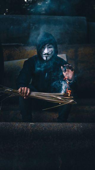 Обои на телефон холод, страшные, персонажи, огонь, мужчина, маска, анонимус, hd