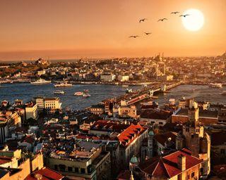 Обои на телефон стамбул, турецкие, птицы, здания, город, восход