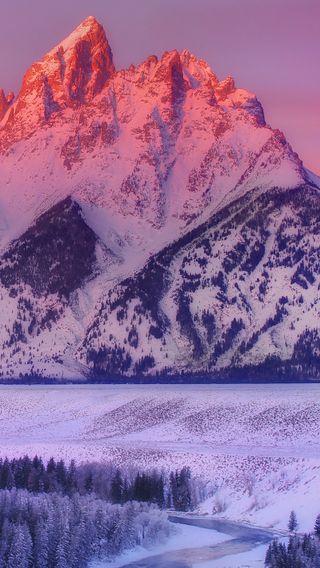 Обои на телефон восход, снег, рассвет, зима, горы