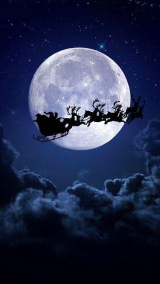 Обои на телефон санта, рождество, луна