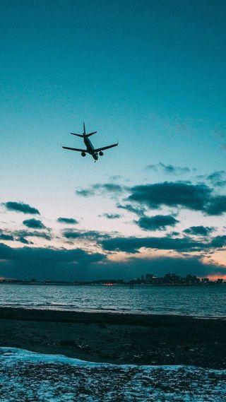 Обои на телефон самолет, полет, пляж, отпуск, дом, город, back home