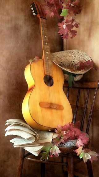 Обои на телефон шляпа, бумага, музыка, листья, гитара, note, chair