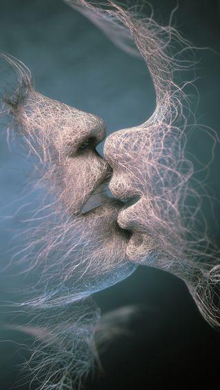 Обои на телефон человек, поцелуй, любовь, арт, love, art