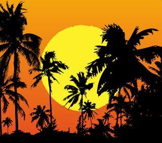 Обои на телефон сумерки, тропические, природа, пальмы, остров, небо, закат, деревья, вечер