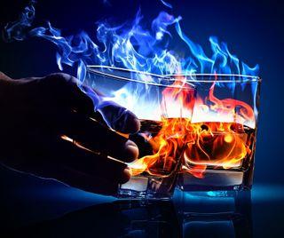 Обои на телефон огонь, водка, алкоголь, burns