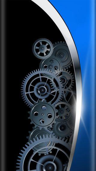Обои на телефон шестерни, серебряные, черные, синие, красота, дизайн, грани, абстрактные, s7, edge design