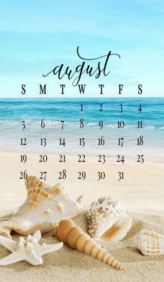 Обои на телефон пляж, календарь, лето, август, august 2018