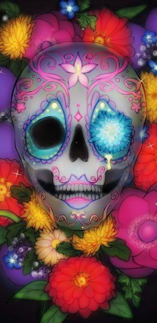 Обои на телефон череп, цветочные, симпатичные, прекрасные, мертвый, красочные, девчачие, девушки, волшебные, gypsy skull