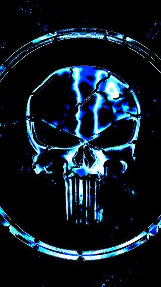 Обои на телефон электрические, череп, каратель, electric punishment, antihero