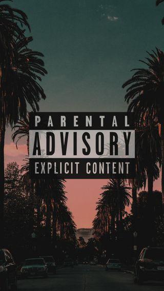 Обои на телефон пальмы, логотипы, деревья, parental advisory, hypebeast