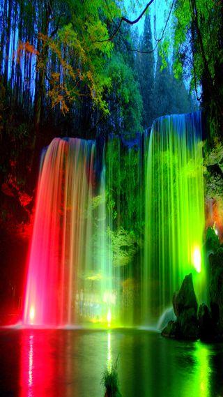 Обои на телефон водопад, ночь, лес, вода, colorfall