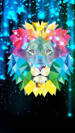 Обои на телефон графика, цветные, лев
