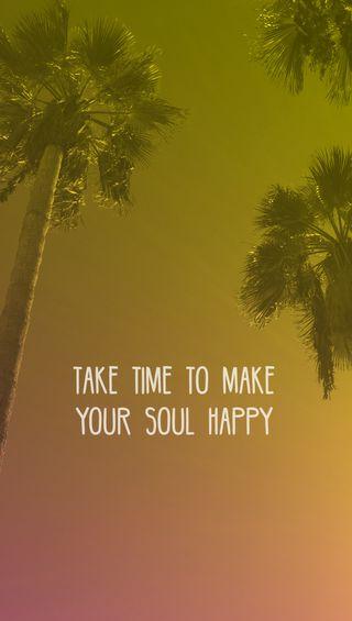 Обои на телефон пальмы, цитата, лето, желтые, время, take time