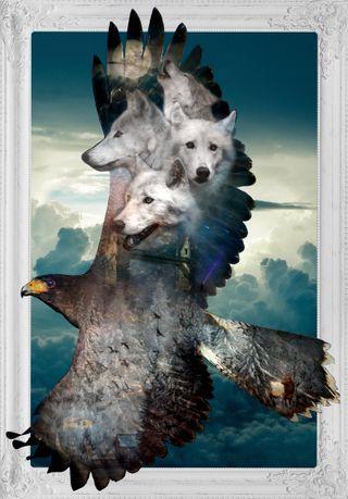 Обои на телефон эпичные, орел, облака, небо, луна, волк, воины, ангелы, goddess, epic eagle and wolf