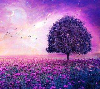 Обои на телефон вид, розовые, пейзаж, дерево, hd