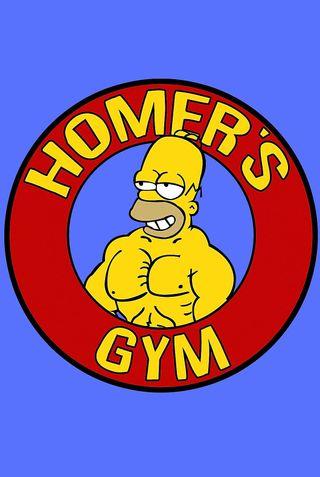 Обои на телефон спортзал, спорт, синие, симпсоны, желтые, гомер, label, homers gym