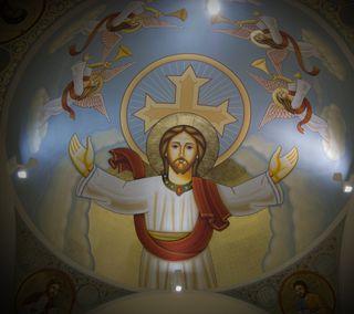 Обои на телефон церковь, икона, христос, исус, orthodox, dome, coptic