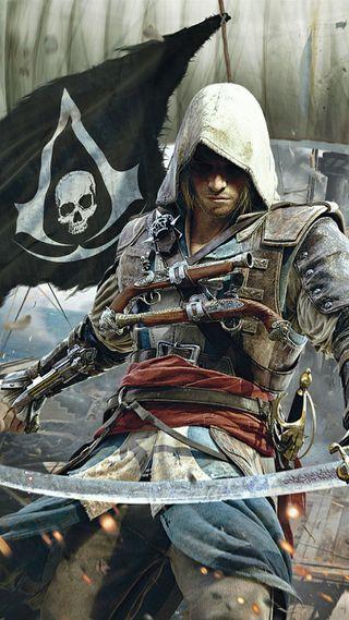 Обои на телефон пираты, черные, флаг, крид, ассасин