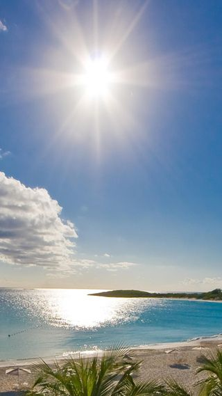 Обои на телефон солнечный свет, солнце, пляж, облака, новый, небо, крутые