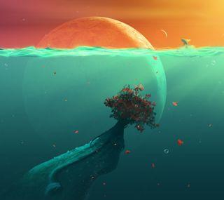 Обои на телефон глубокие, синие, рыба, планета, океан, дерево, вода