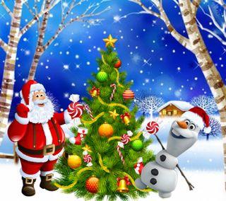 Обои на телефон счастливое, снеговик, санта, рождество, олаф, 1440x1280px