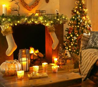 Обои на телефон свечи, счастливое, рождество, дерево
