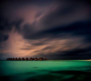 Обои на телефон облачно, шторм, тропические, рай, пляж, остров