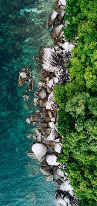 Обои на телефон тропические, синие, пляж, остров, океан, вода
