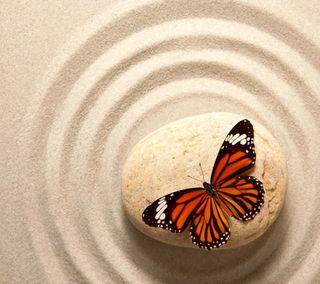 Обои на телефон дзен, песок, камни, бабочки
