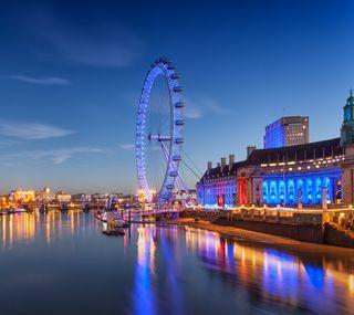 Обои на телефон лондон, озеро, ночь, закат