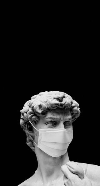Обои на телефон черные, статуя, маска, греческий, айфон, statue with mask, iphone, griegos, griegas, 2020