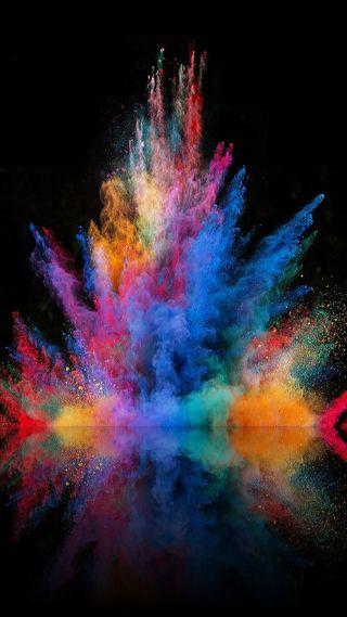 Обои на телефон цветные, отражение, красочные, дизайн, взрыв, colorful explosion