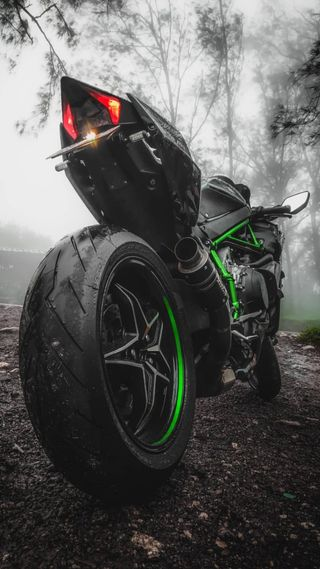 Обои на телефон зверь, ниндзя, мотоцикл, зеленые, гоночные, racebikes, ninja-h2, h2r, h2