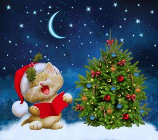 Обои на телефон песня, снег, рождество, ночь, луна, котята, зима, дерево