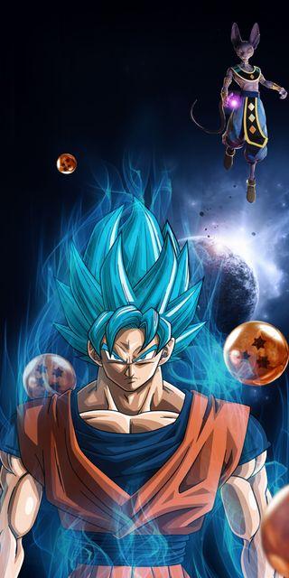 Обои на телефон dragon ball super, god of destruction, super saiyan blue, goku vs beerus, синие, супер, дракон, гоку, бог, мяч, сайян, против, бирус