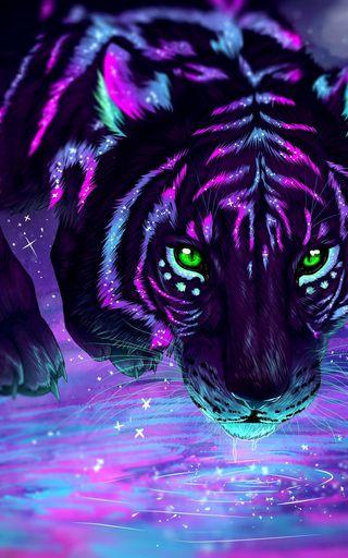 Обои на телефон пантера, фиолетовые, тигр, воины, purple tiger
