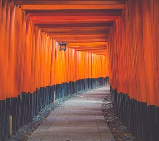 Обои на телефон архитектура, японские, оранжевые, hallway