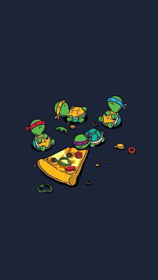 Обои на телефон милые, забавные, фан, ниндзя, еда, черепаха, пицца, черепахи, маленький, подросток