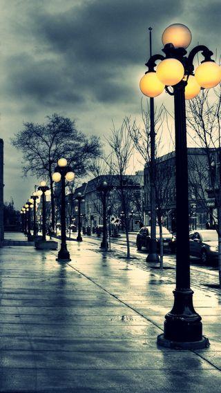 Обои на телефон улица, огни, ночь, небо, природа, облака, классные, дождь, street hd