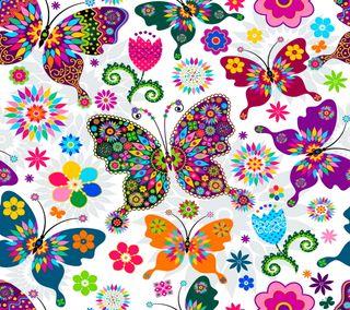 Обои на телефон абстрактные, цветы, красочные, бабочки, цветочные, векторные