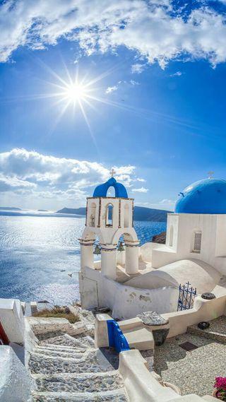 Обои на телефон церковь, греция, солнце, солнечные, природа, облака, небо, море, вид, santorini