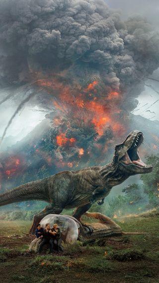 Обои на телефон юрский, парк, мир, динозавр, вулкан, t-rex, jurassic world 2, hd
