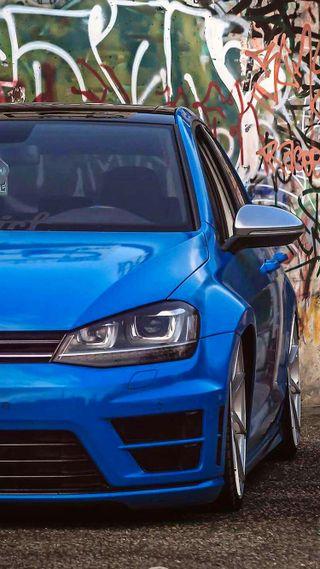 Обои на телефон гольф, фольксваген, тюнинг, синие, машины, автомобили, vw, volkswagen, mk7, golf r