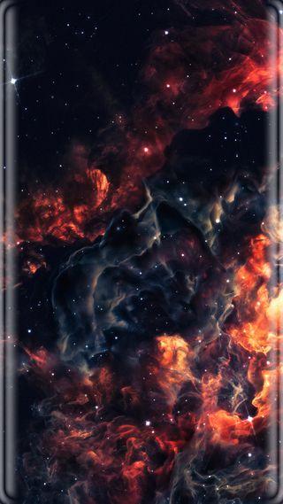 Обои на телефон пламя, облака, звезды, грани, галактика, абстрактные, s7, galaxy